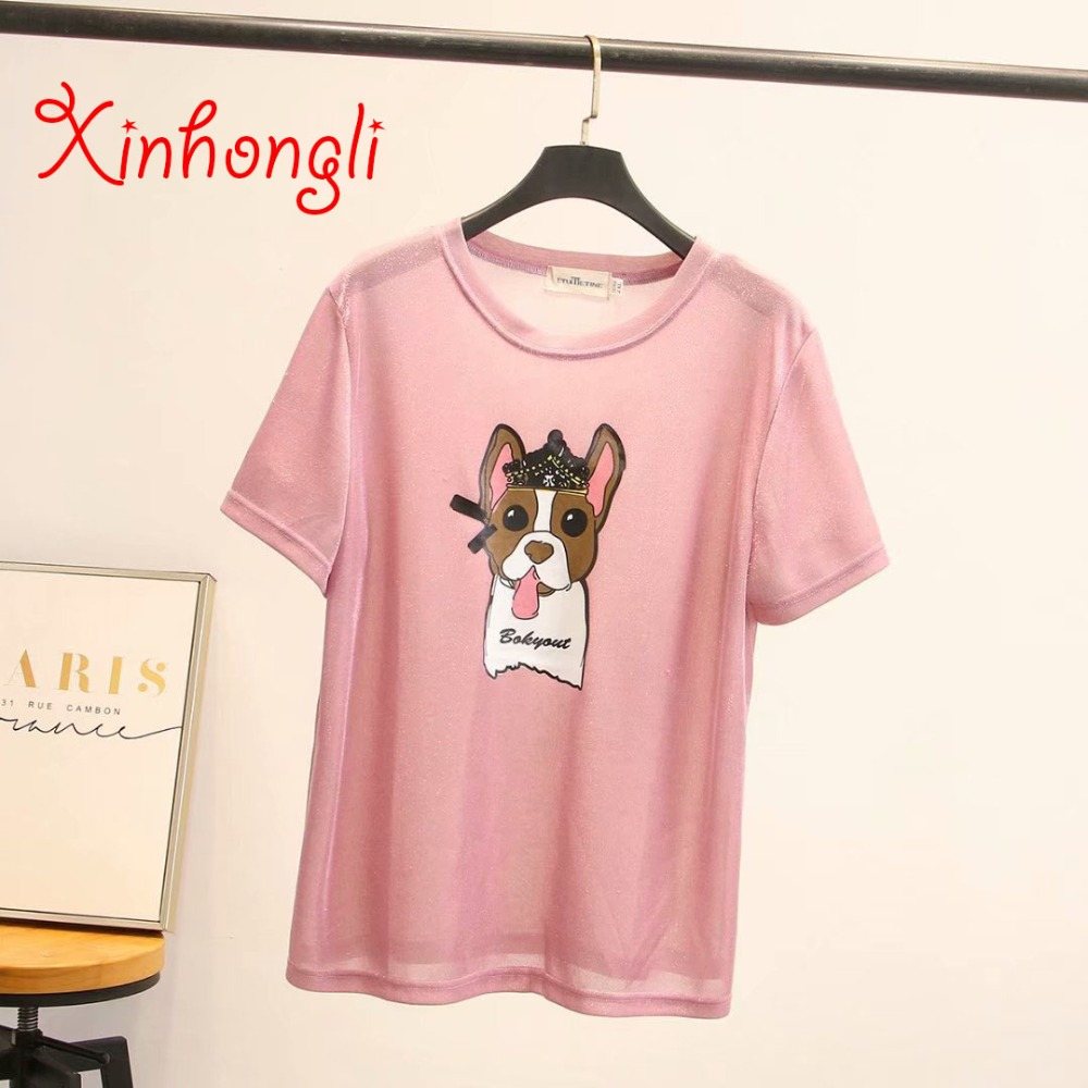 Plus size elastic knitted women Tshirts 2019 summer casual ladies cartoon T shirts female tops O-neck tees short sleeve T-shirts