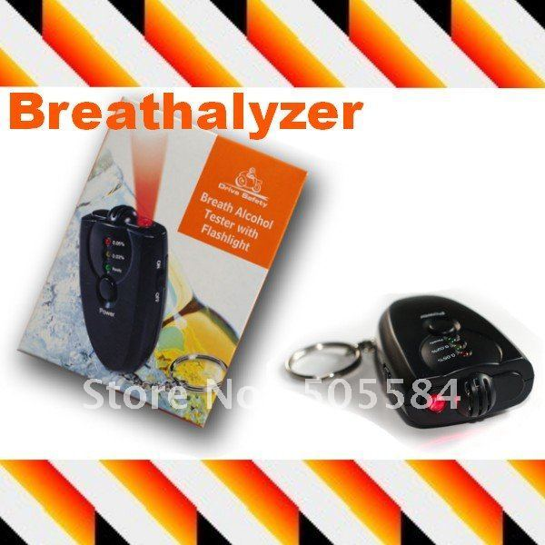 10pcs Mini Breath Alcohol Tester Breathalyzer LED Flashlight Keychain design , Retail box