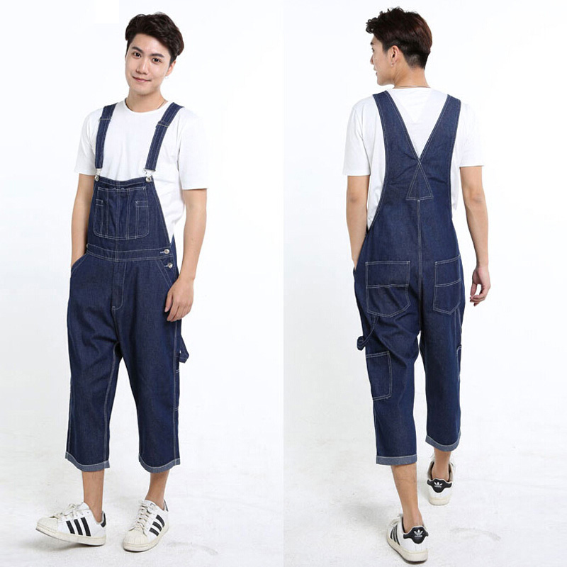 New Hip Hop Pants Summer Fashion Mens Loose Jean Overalls Casual Bib Jeans For Men Male Denim Jumpsuit Size 28-42