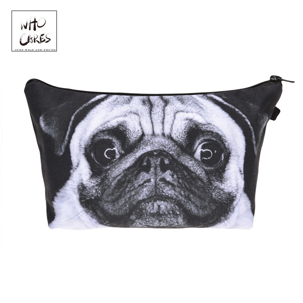 Who Cares Fashion Printing Pug Dog Makeup Bags Cosmetic Organizer Bag Pouchs For Travel Lady Pouch Women Cosmetic Bag