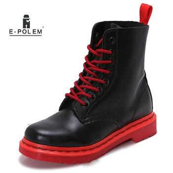 Британский Стиль Мода на шнуровке пары ботильоны женская повседневная обувь ручной работы осень-зима Натуральная кожаные ботинки martin
