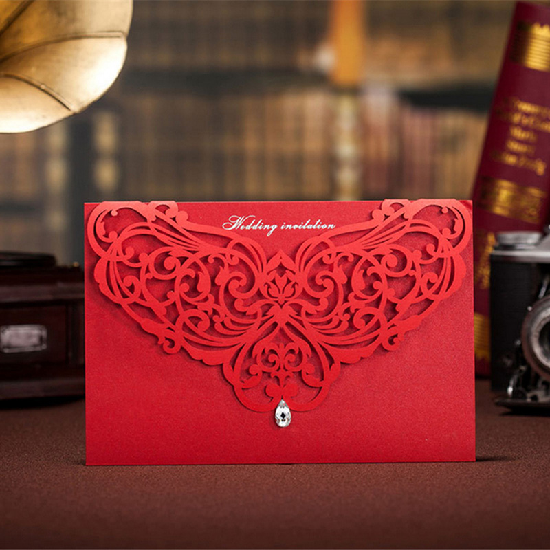 Aliexpress Buy Red Laser Cut Customizable Hollow Crystal Lace Wedding Invitation Card With Printable Cards Foil Stamping Envelopes Seals From