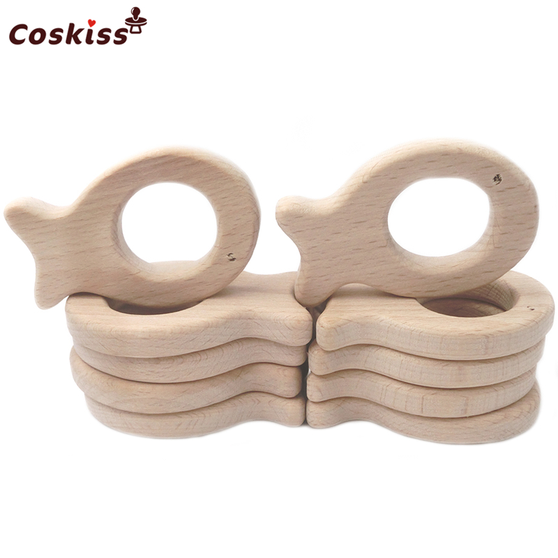 Beech Wooden Fish Natural Handmade Wooden Teether DIY Wood Personalized Pendent Eco-Friendly Safe Baby Teether Toys