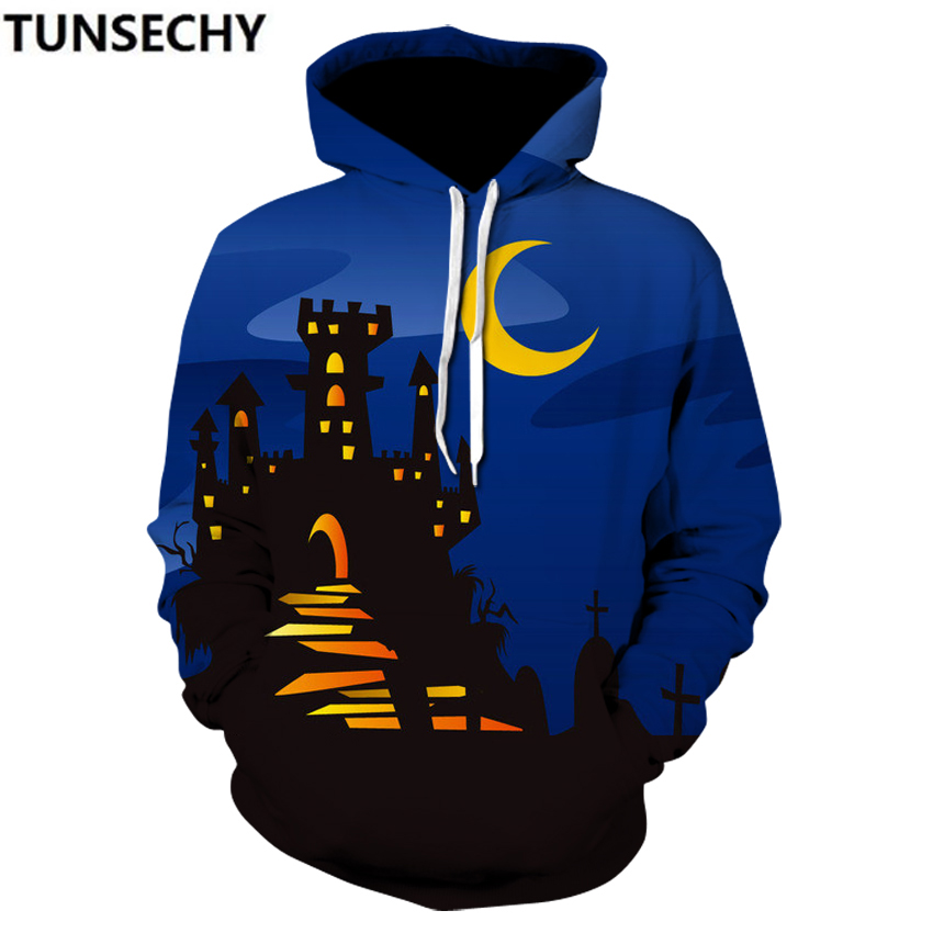 2018 spring and autumn new pullover pumpkin lamp digital printing3Dhooded hoodie casual menswear Halloween hot style