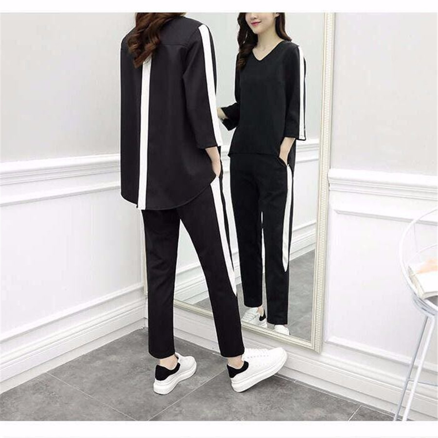 Tracksuits For Women Plus Size Big Two Piece Outfit  Set Co-ord Sets 2019 Summer Top And Pants Suits Clothing