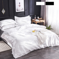 6pcs Satin Silk Bedding Set Home Textile Double Size Soft Cool Duvet Cover Fitted Sheet Pillowcases Home Breathable Beddings