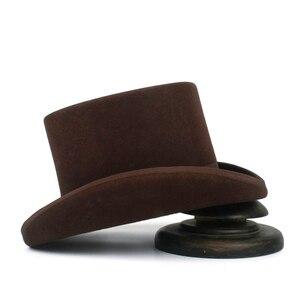 Image 3 - 5 màu sắc Top Hat 15 cm 4 Kích Thước Len Phụ Nữ Người Đàn Ông Top Fedora Hat Ảo Thuật Cà Phê Steampunk Cosplay Punk Đảng mũ Dropshipping