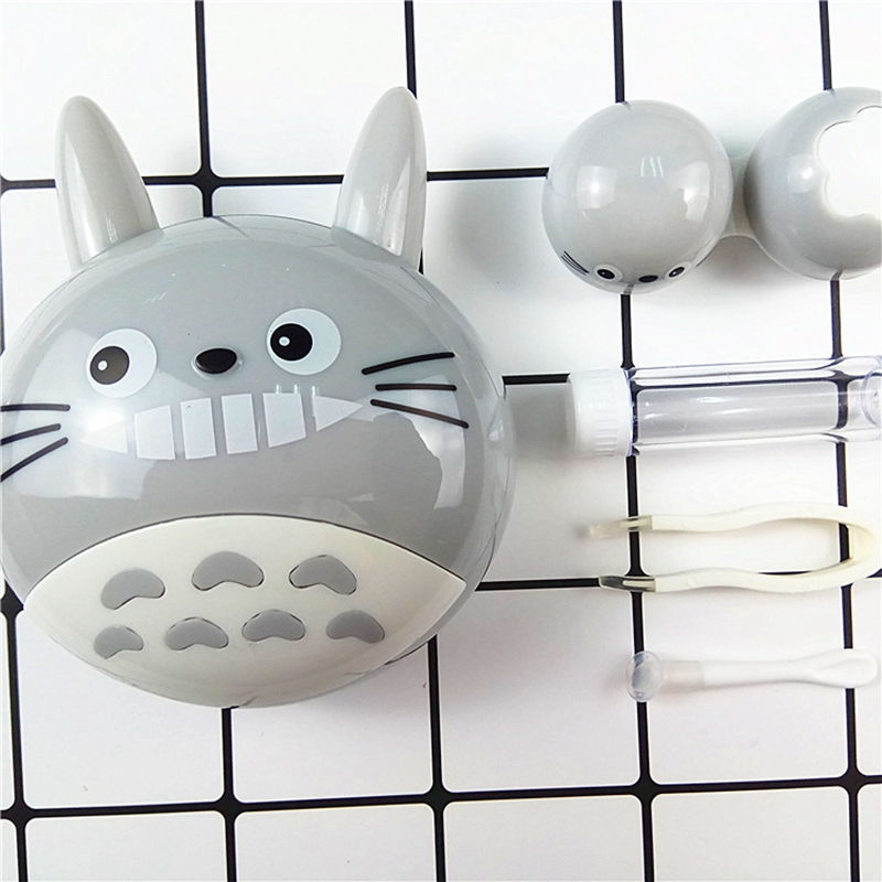 2018 DIY lovely Cartoon Neighbor Totoro with Mirror Contact Lens Case for Women Gift Kit Holder Eye Care Contact Lens Box L9022