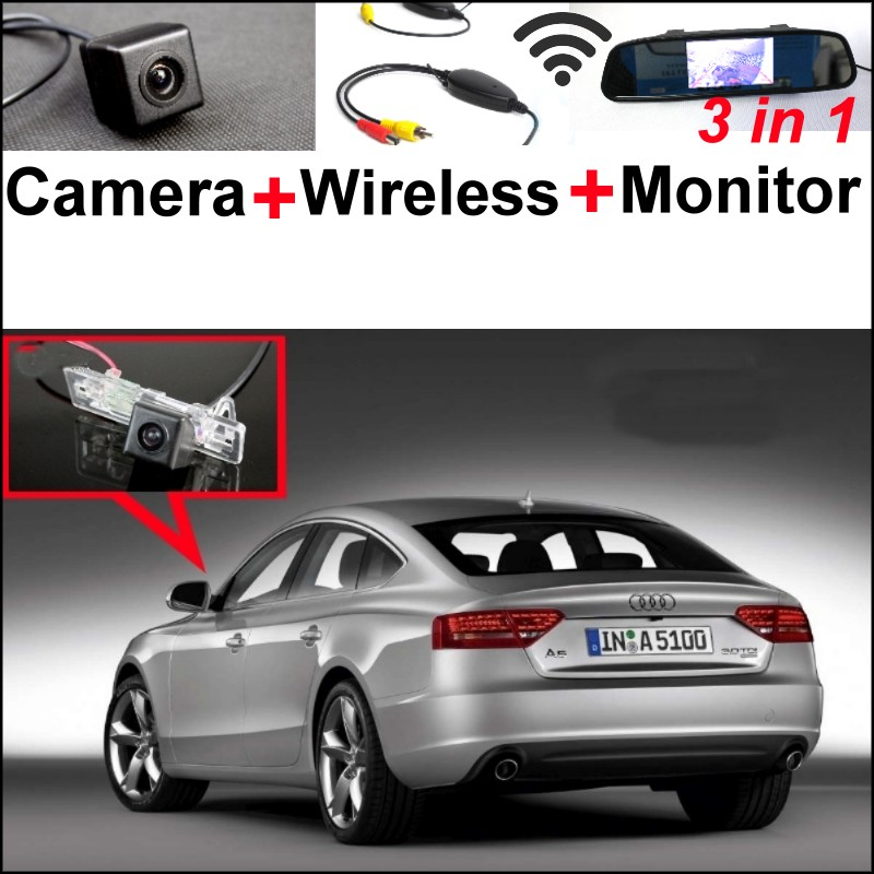 3in1 Special WiFi Rear View Camera + Wireless Receiver + Mirror Monitor Easy DIY Parking System For Audi A5 S5 RS5 2008~2014 wireless pager system 433 92mhz wireless restaurant table buzzer with monitor and watch receiver 3 display 42 call button