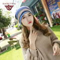 2016 Fashion Hats For Women Striped Knitted Caps Casual Sport Hat Adult Warm Ear Skullies & Beanies Cotton Acrylic Hat  WF022