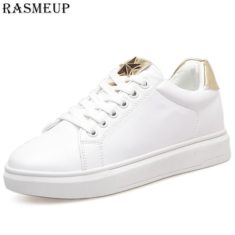 ba8855a3270 RASMEUP Leather White Women s Flat Platform Sneakers 2018 Fashion Lace Up  Women Walking Shoes Casual Woman Comfortable Footwear