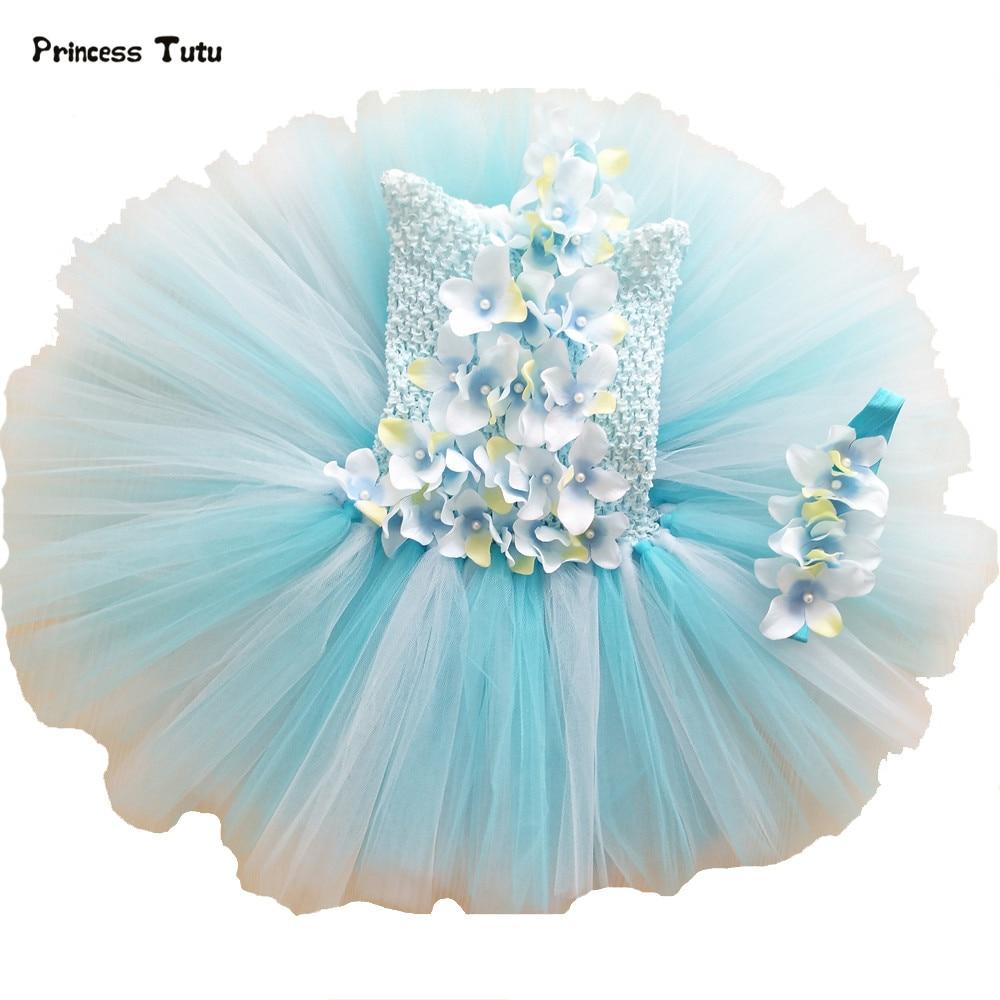 0-4Year Baby Girls Flower Tutu Dress Girl Wedding Gowns Kids Toddler Birthday Party Dress Baby Light Blue Tulle Princess Dress