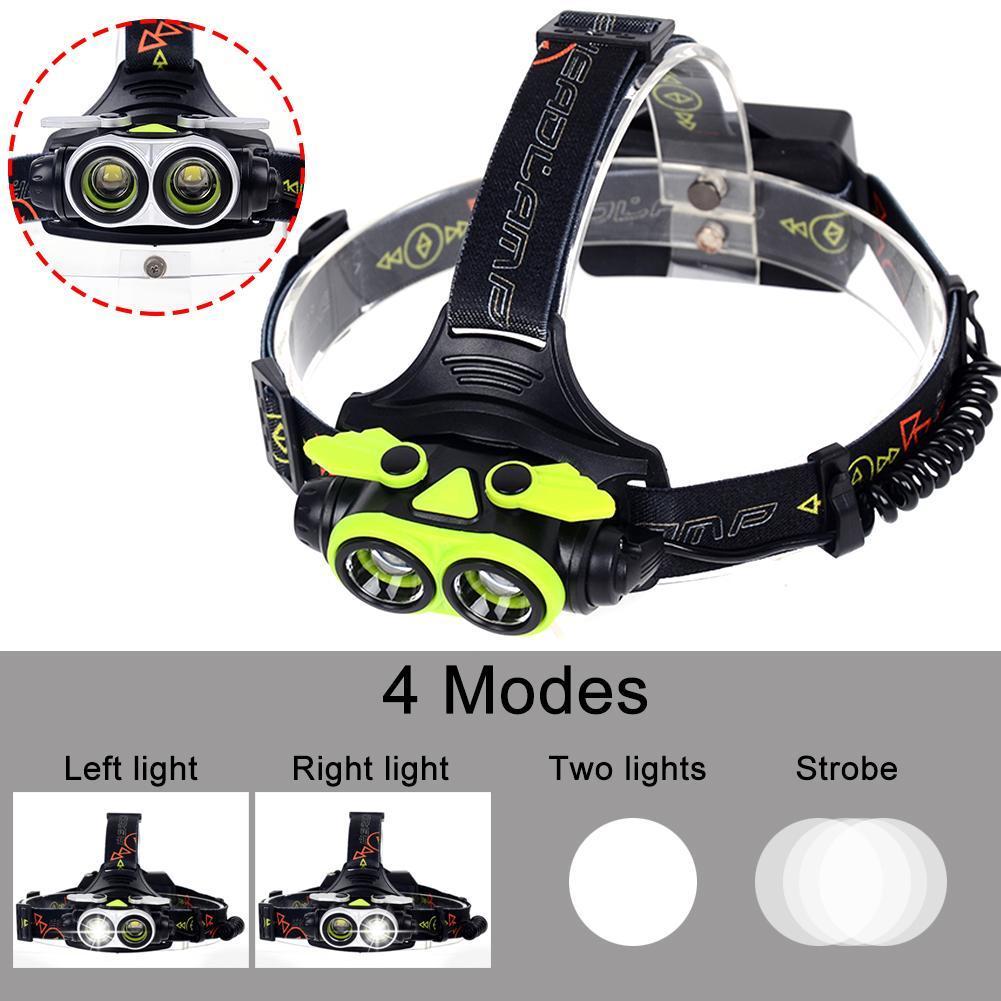 SKYWOLFEYE LED Headlamp 20000 LM 2X T6 LED Headlight Flashlight Torch USB Rechargeable Headlamp for Outdoor Activity