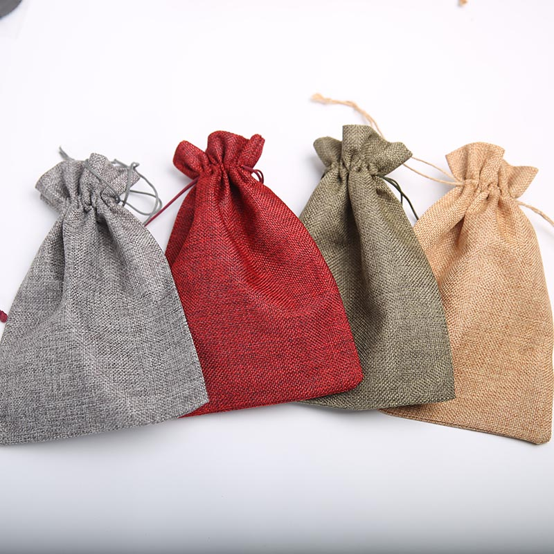 50pcs Imitation Linen Beam Pocket Gift Bag Factory Wholesale Jewelry Cosmetics Drawstring Bag 17*23cm