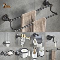 ZGRK Retro Bathroom Accessories European Brushed Solid Brass Hardware Set Wall Mounted Metal Wall Hanging Bathroom Products