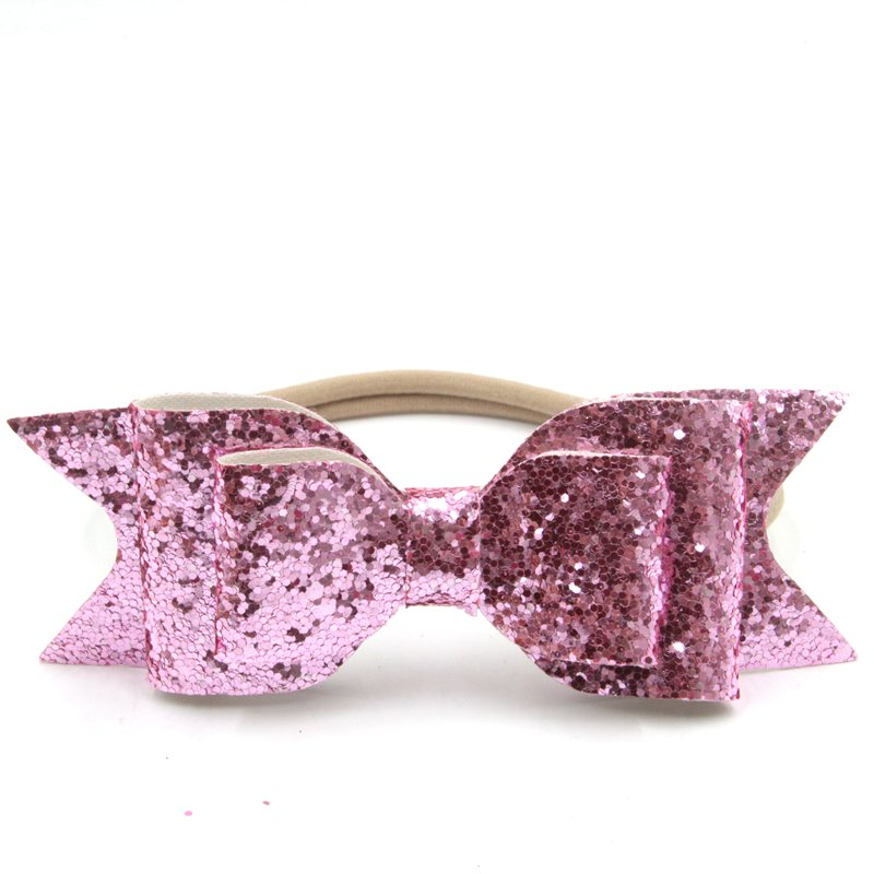 Nylon Headband Women Baby Girl 12cm Big Glitter Hair Bow Kids Hairband For Children Hair Accessories Toddler Headwear women girl bohemia bridal camellias hairband combs barrette wedding decoration hair accessories beach headwear