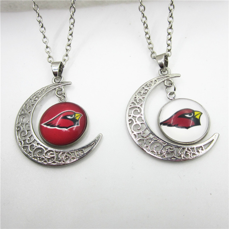 New Arrive 10pcs Moon Arizona Cardinals Necklace Pendant Jewelry With Chains Necklace DIY Jewelry Football Sports Charms