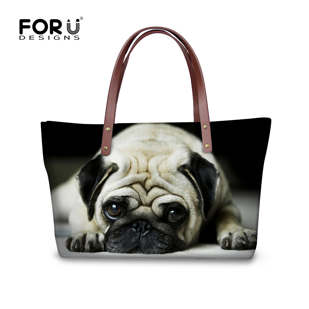FORUDESIGNS 3D 동물원 여성용 캐주얼 동물 여행 핸드백 대형 여행 가방 귀여운 Pug Dog 여성용 가방 Messenger Bag 여성용 Bolsas
