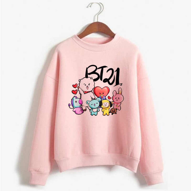 Aspiring Bts Bt21 Hoodie Women Casual Harajuku Korean Sweatshirt Long Sleeve Jhope Jk Army Suga Rm V Jin Jimin Print Hoodies For Ladies Hoodies & Sweatshirts