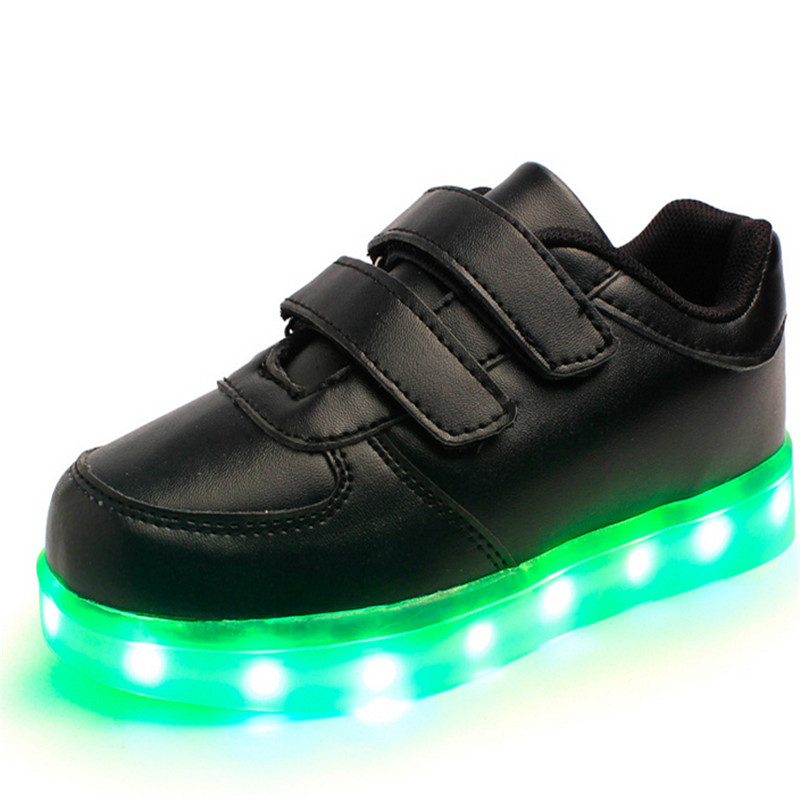 USB Charging LED Children Shoes With Light Up Kids Boys Girls Unisex Luminous Sneakers Flashing Glowing Shoes Black Size 25-37 купить в Москве 2019