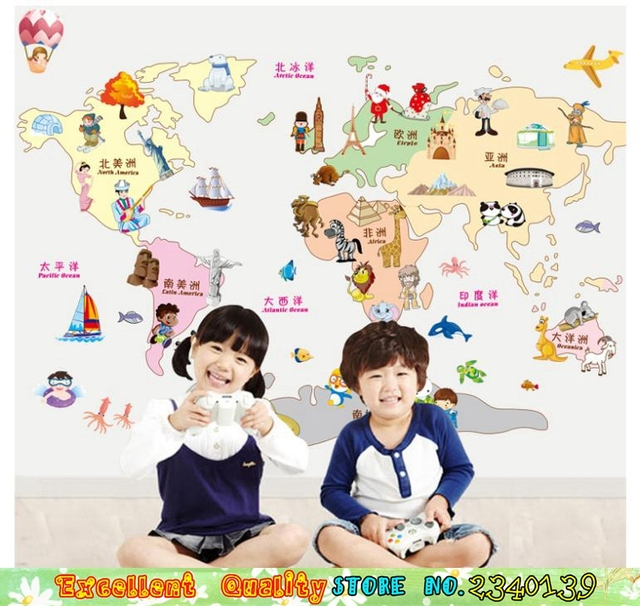 Lovely cartoon style world map wall stickers for home kids room wall lovely cartoon style world map wall stickers for home kids room wall decoration waterproof nursery classroom gumiabroncs Images
