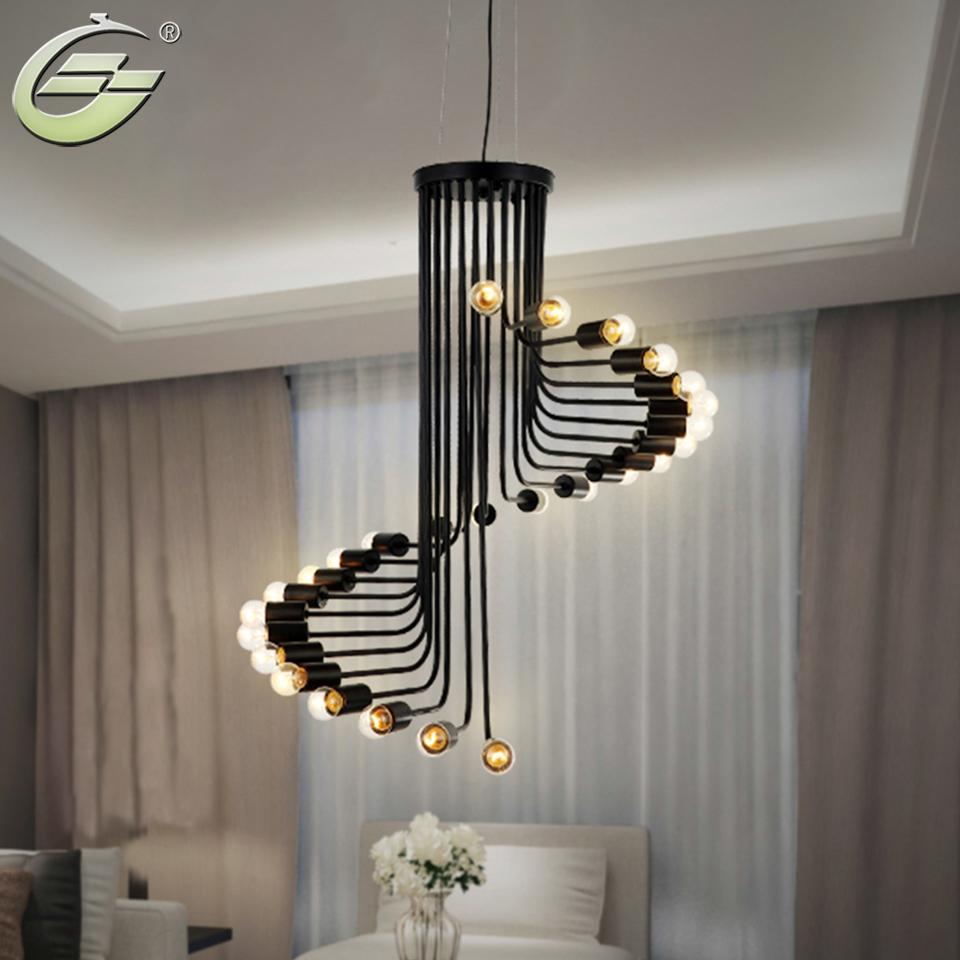 plancha giratoria colgante creativo luz cabezas de espiral e luz bombilla de iluminacin decoracin de la escalera lmpara