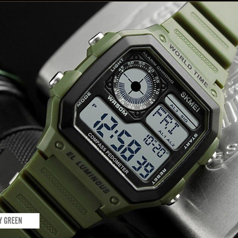 Compass Sports Watches Men Countdown Digital Led Pedometer Calories Waterproof Watch Women Man Clocks Reloj Hombre 2018 Skmei Watches