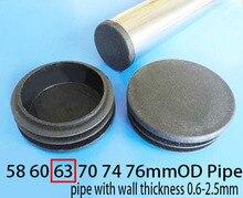 63mm Blanking Tube Insert End 2*1/2 Inch Table Leg Tube Plug Plastic