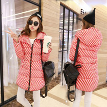 2016 dot print winter jacket women medium-long fashion hooded thickening down coat female slim parka ladies plus size outerwear