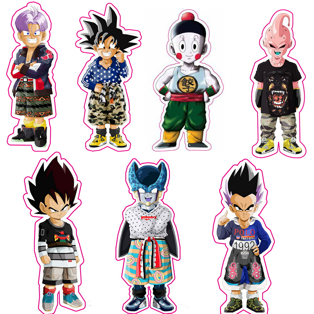 7pcs set 6cm dragon ball z stickers super saiyan reusable dragonball fixed gear luggage sticker car sticker in action toy figures from toys hobbies on