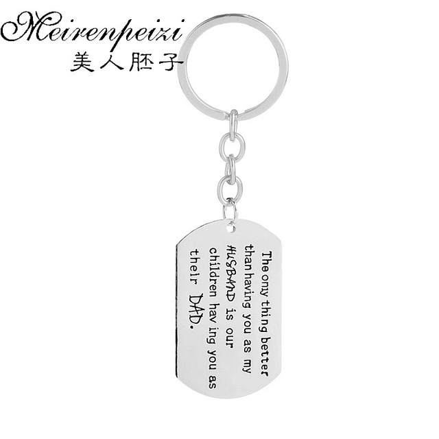 c7209a3414c6f2 Dad   Husband Key Chain Handstamped Father Keychain Personalized Hammered  Key Ring Anniversary Gift Gift for Husband Key Holder