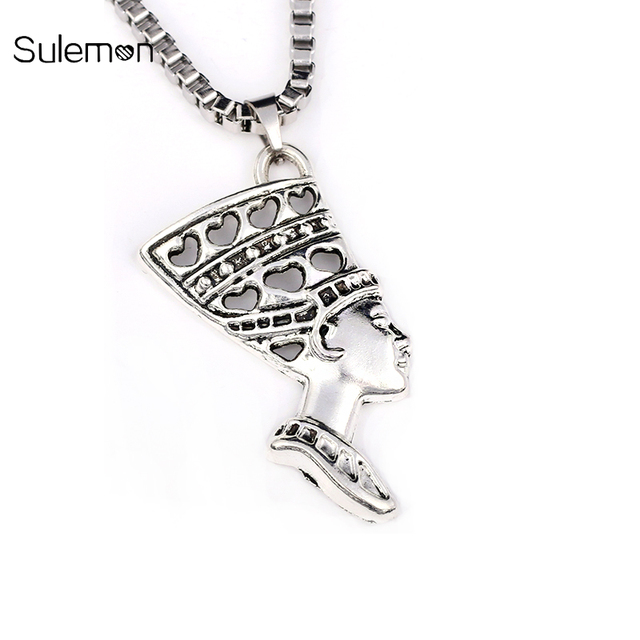 Egyptian queen nefertiti pendant stainless steel necklace for egyptian queen nefertiti pendant stainless steel necklace for menwomen vintage high quality nefertiti necklace jewelry mozeypictures Gallery