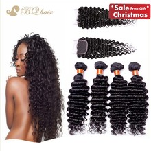 4 Bundles Brazilian Deep Wave With Closure Cheap 7A Rosa Human Hair Extension unprocessed virgin hair weaves with lace closure
