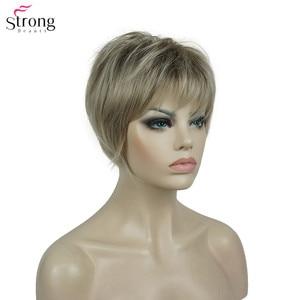 Image 2 - Strongbeauty 합성 가발 여성 부르고뉴/금발 자연 가발 짧은 스트레이트 가발