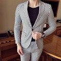 2017 Envmenst Marca Diseñado Trajes A Rayas Chaqueta + Shorts 2 Sets Algodón Ocasional Solo Botón Chaqueta Delgada Del Ajuste Hombres boda