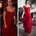 Знаменитости платья gossip girl Блэр красные платья sexy рукава cap аппликации Сидел в длинные вечера выпускного вечера платья Странице Ant Платья