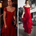 Vestidos de celebridades gossip girl Blair vestidos vermelhos sexy cap mangas apliques Página Formiga Sentou em long prom vestidos de noite Vestidos