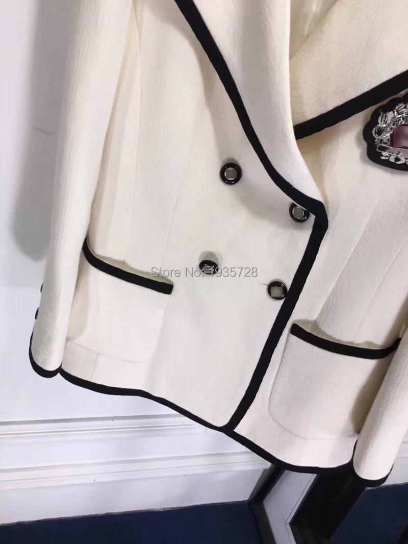 Pic Et breasted Avant Couleur Luxe De Double White hiver 2018 Nouveau Laine Badge Femmes Long Contraste As Avec Garniture Blanc Automne Blazer Soie Manches agfSqSCEnx