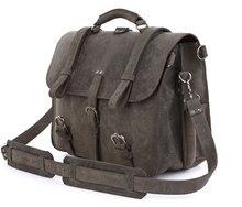 Crazy Horse Leather Men s Briefcases Military Travel Bag Designer High Quality 7072J