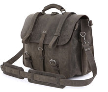 Crazy Horse Leather Men's Briefcases  Military Travel Bag Designer High Quality 7072J