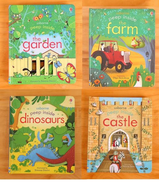 Original inglés educativo Unidades 1 pieza libros de fotos Usborne Peep interior para bebé Primera infancia mejor regalo para niños