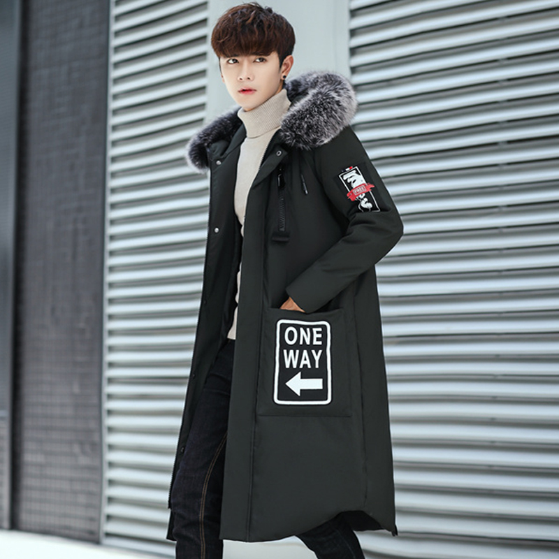 High Quality Men's Winter Coat Long Down Jacket Men Big Fur Collar Hooded Men's Down Russia Winter Jacket Men Big Size 3XL