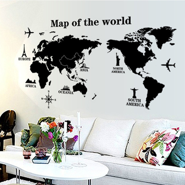 Environmental protection can remove wall stick a world map wall environmental protection can remove wall stick a world map wall stickers the sitting room porch drawing gumiabroncs Choice Image