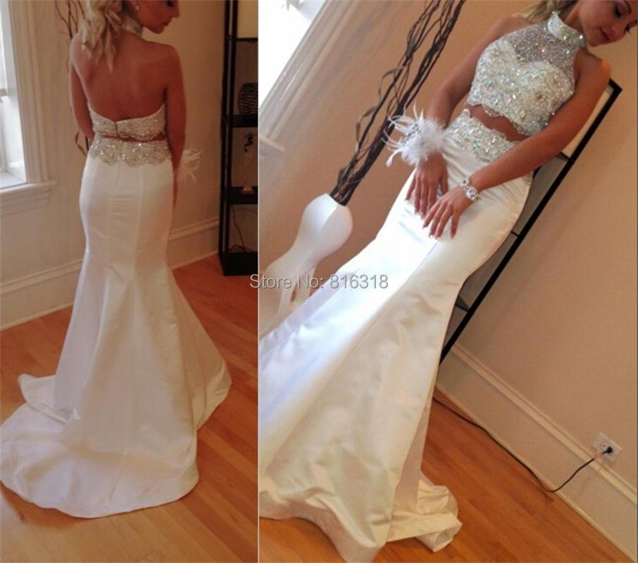 1f44504527a High Neck Two Piece Prom Dresses Backless Floor Length Bling Beaded Evening  Dress Mermaid Prom Dress 2016-in Prom Dresses from Weddings   Events