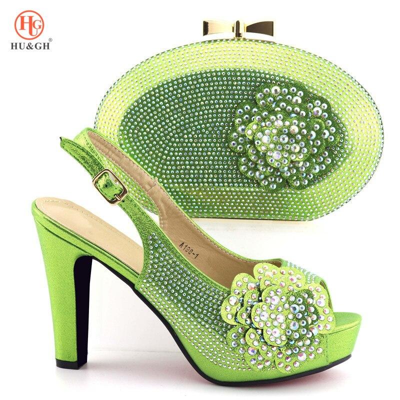 lavande Sac 2019 Chaussures Italiennes rose Mariage Hauts Africaines pourpre argent Sacs Ensemble vert Décoré Noir Femmes Vert Talons Avec Et De Strass xvnxwrRzU