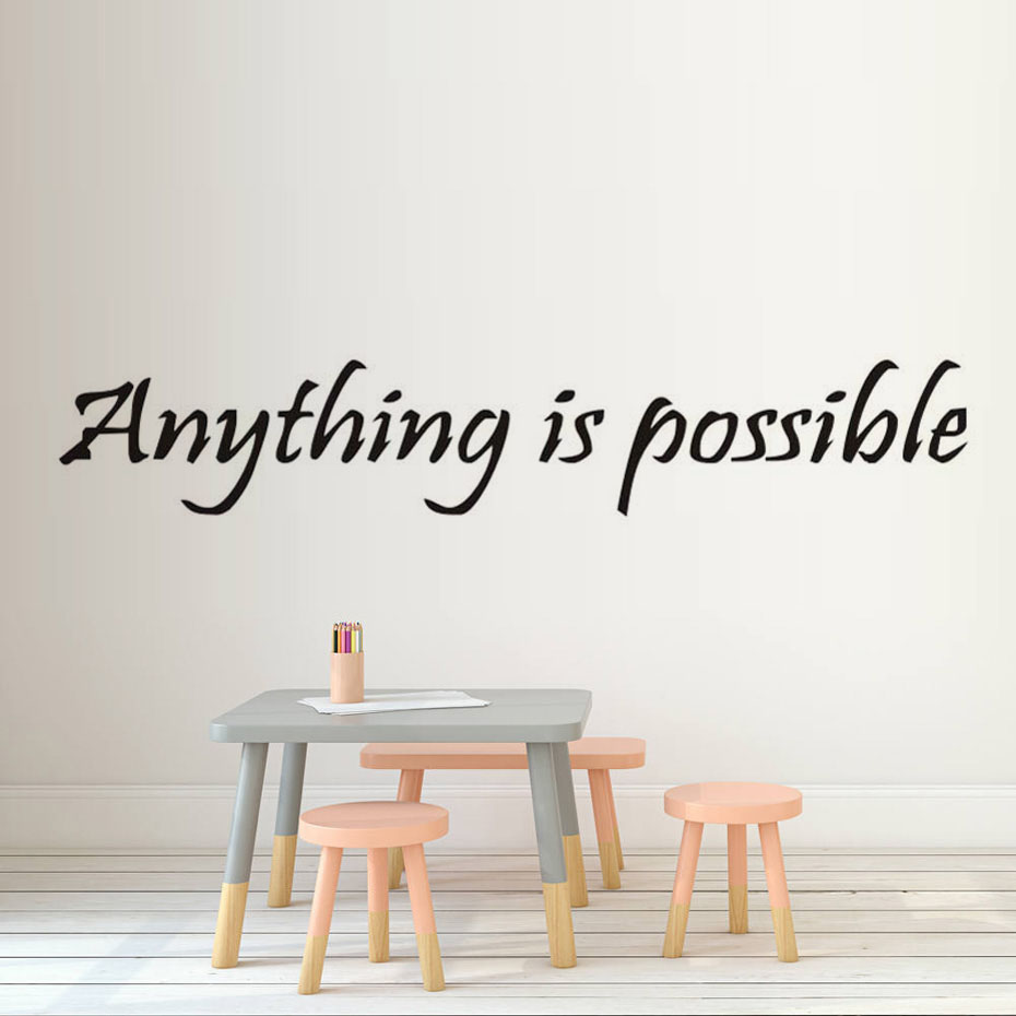 DCTOP Anything Is Possible Inspirational Wall Decals Sayings Positive Quotes Sayings Sticker Wall Art Home Decor ...