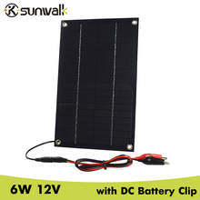 SUNWALK 6W 12V Mono Flexible Solar Panel Charger for Charging 12V Car Battery 12V Device with DC5521 Battery Clip