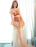 2016 Summer Bohemia Dress Women Embroidery Sleeveless Beach Dress Chiffon Maxi Dress Summer Style