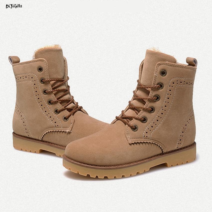 Women Fashion Winter Fur Ankle Boots Plus Size Lace Up ...
