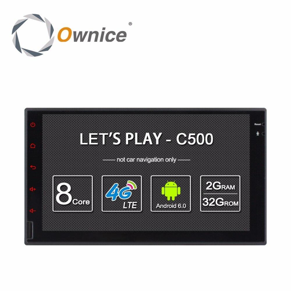 Ownice C500 Android 6.0 2 г ОЗУ 7 ''1024*600 поддержки 4 г LTE SIM сети автомобиля радио GPS 2 din универсальный с радио no dvd